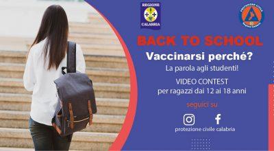BACK TO SCHOOL – La Protezione Civile Calabria lancia un video contest  per sensibilizzare la vaccinazione nella fascia 12-18 anni